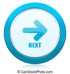 Next blue chrome silver metallic border web icon. Round button for internet and mobile phone application designers.