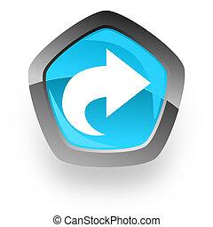 next blue metallic chrome web pentagon glossy icon