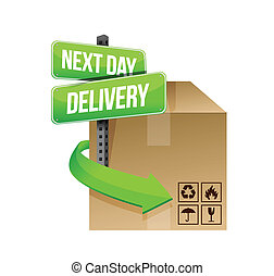 next day delivery illustration design over a white ...