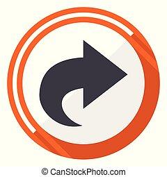Next flat design vector web icon. Round orange internet button isolated on white background.