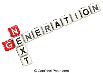 Next generation word concept on cube block isolated