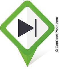 Next green square pointer vector icon in eps 10 on white background with shadow.