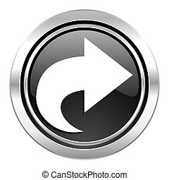 next icon, black chrome button, arrow sign