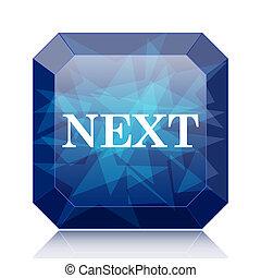 Next icon, blue website button on white background.