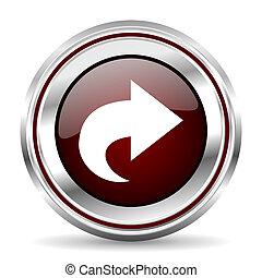 next icon chrome border round web button silver metallic pushbutton