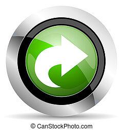 next icon, green button, arrow sign