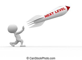 Next level - 3d people - man, person with a rocket. Next...