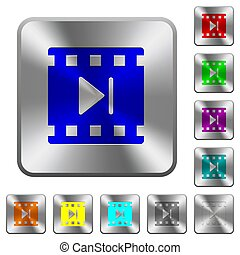 Next movie rounded square steel buttons