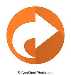 next orange flat icon arrow sign