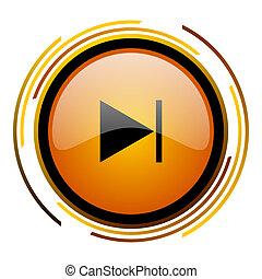 next round design orange glossy web icon