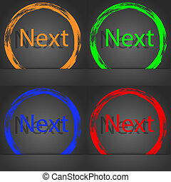 Next sign icon. Navigation symbol. Fashionable modern style. In the orange, green, blue, red design.