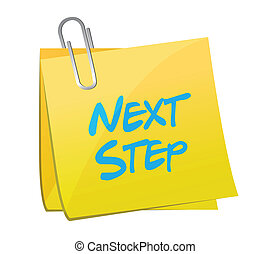 next step message post illustration design over a white...