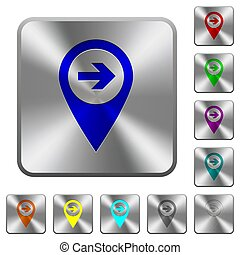 Next target GPS map location rounded square steel buttons