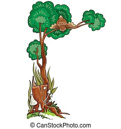 next to an old stump a tree grows in the crown of which a bird sits and looks down, cartoon illustration, isolated object on a white background, vector illustration,