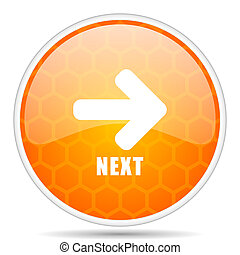 Next web icon. Round orange glossy internet button for webdesign.