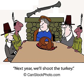 Indians and Pilgrims sit at the first Thanksgiving with a turkey that has a big hole in it.