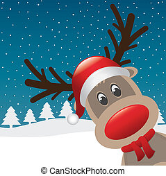 nez, chapeau, rudolph, renne, rouges