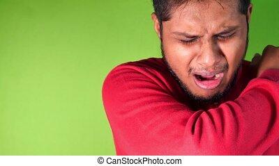 nez, homme, bras, malade, jeune, contre, couverture, vert, bouche, elle, fond