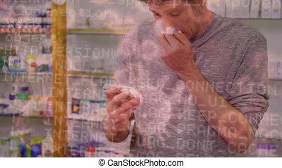 nez, homme, enduisage, fond, covid-19, souffler