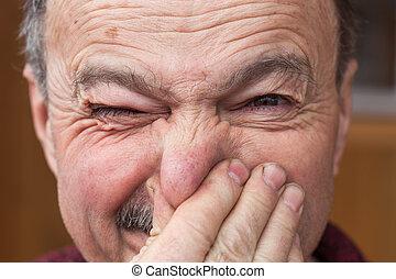 nez, odeur, homme, désagréable, personnes agées, bouchons, because, mains