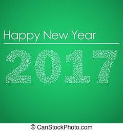 nezkušený, happy new year, 2017, od, maličký, sněhové vločky, eps10