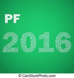 nezkušený, happy new year, pf, 2016, od, maličký, sněhové vločky, eps10