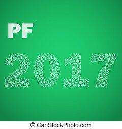 nezkušený, happy new year, pf, 2017, od, maličký, sněhové vločky, eps10