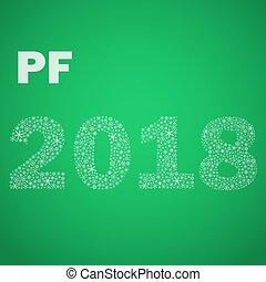 nezkušený, happy new year, pf, 2018, od, maličký, sněhové vločky, eps10