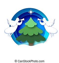 nezkušený, vánoce doklady, konstrukce, anděle, kopyto., čerstvý, zima, karta, kruh, neposkvrněný, řezat, blahopřání, veselý, cetka, year., šťastný, holidays., style.