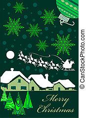 nezkušený, vánoce karta