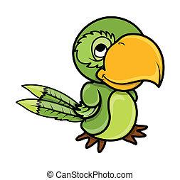 nezkušený, vektor, -, karikatura, papoušek