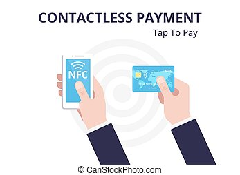 NFC concept. Contactless payment with smartphone, credit...
