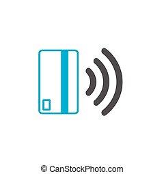 (nfc), concept, kraan, illustration., communicatie, vector, pay., icon., contactless, technologie, betaling, kaart, near-field