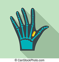 Nfc hand implant icon, flat style - Nfc hand implant icon....