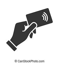 nfc, hand, kreditera, vektor, icon., betalning, kort