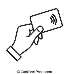 nfc, mão, crédito, vetorial, icon., pagamento, cartão