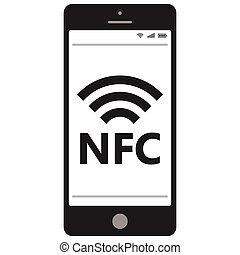 nfc, móvil, campo, teléfono, comunicación