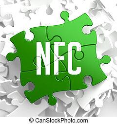 nfc, na, zielony, puzzle.