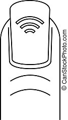Nfc nail icon, outline style - Nfc nail icon. Outline nfc...