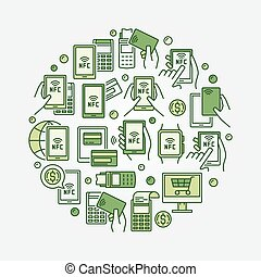 NFC payment circular green illustration