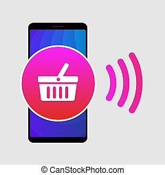 NFC paypass mobile phone flat vector icon. Contactless...