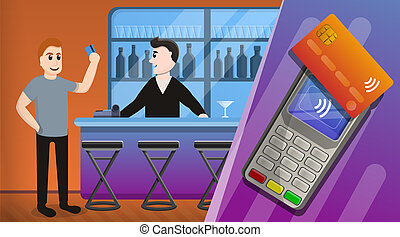 Nfc technology concept background, cartoon style - Nfc...