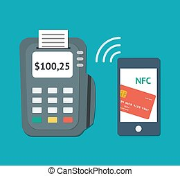 NFC technology concept. Flat illustration of smartphone with...