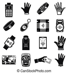 Nfc technology purchase icon set, simple style - Nfc...