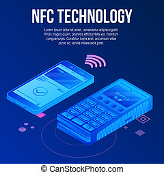 Nfc tehcnology concept background, isometric style