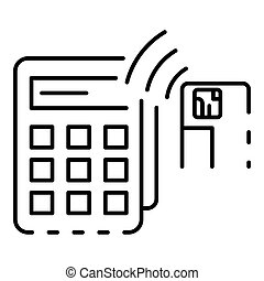 Nfc terminal card payment icon, outline style - Nfc terminal...