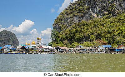 nga, phang, fischerdorf, thailand, schwimmend, provinz