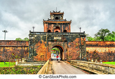 Ngan Gate to the Imperial City in Hue, Vietnam