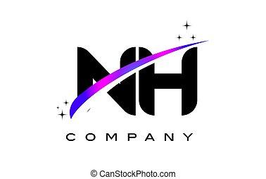 NH N H Black Letter Logo Design with Purple Magenta Swoosh...