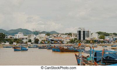 Nha Trang Bay with ships and boats. Central Vietnam. Nha Trang city panorama.